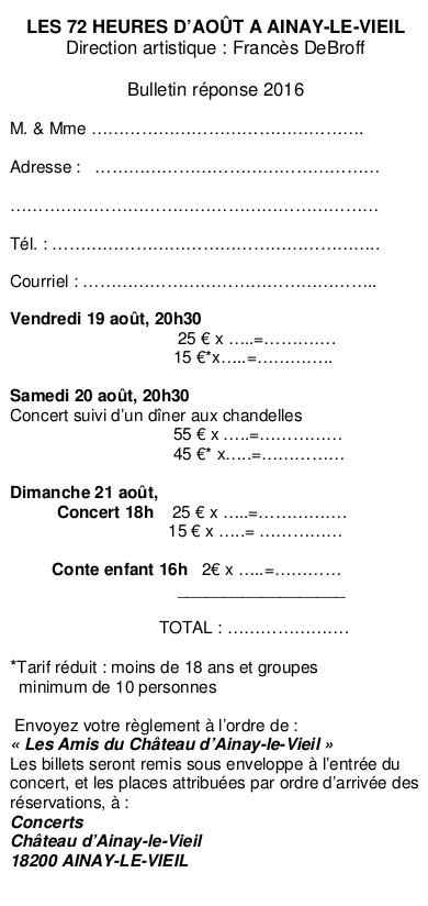 2016 - 72 Heures de Musique d'Ainay-le-Vieil - Bulletin réponse