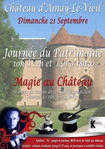 Journée du patrimoine au Château d'Ainay le Vieil avec Karl le Magicien
