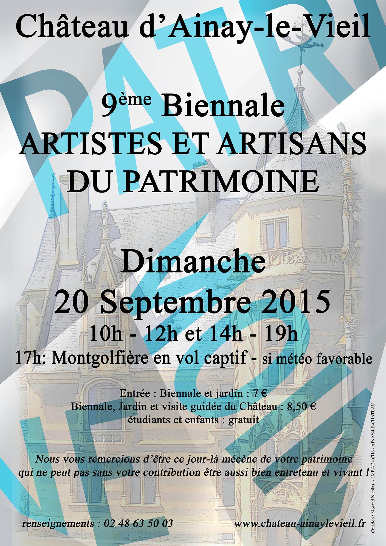 Journée du Patrimoine 2015 - 9ème Biennale des Artistes et Artisans d'Art