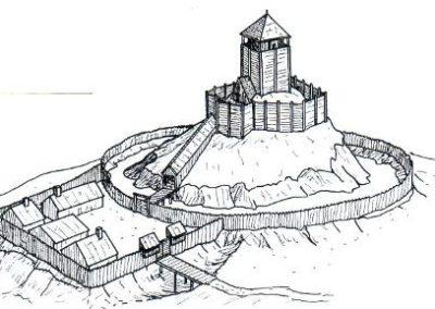 Plan d'une motte castrale