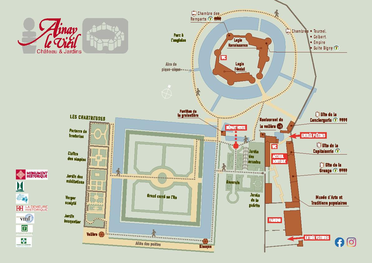 plan détaillé du château d'Ainay-le-Vieil, du parc et des jardins