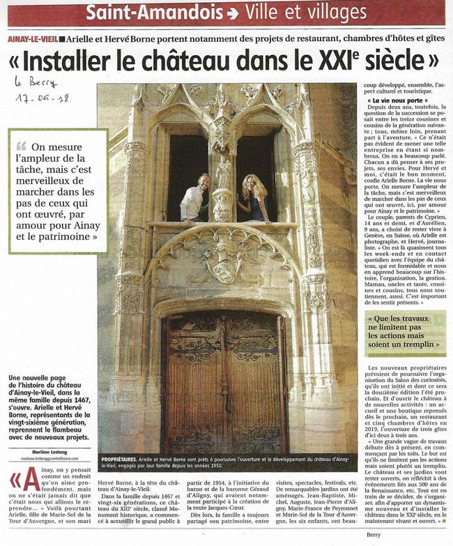 Article Installer le chateau dans le 21ème siècle 2018_09_17-LeBerryRepublicain