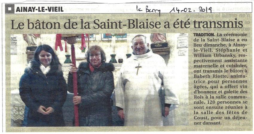 Le Berry Républicain, article sur Ainay-le-Vieil et la Saint Blaise du 14 février 2019