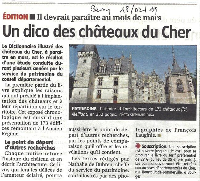 Le Berry Républicain, article sur Ainay-le-Vieil dans un dictionnaire des chateaux du Cher du 18 février 2019