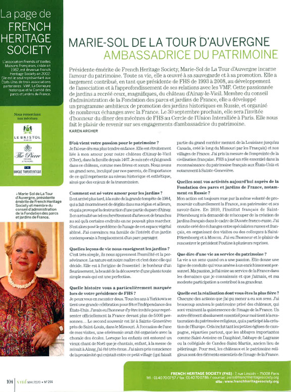 Article dans Vieilles Maiosn Françaises sur the French Heritage Society par Marie-Sol de la Tour d'Auvergne