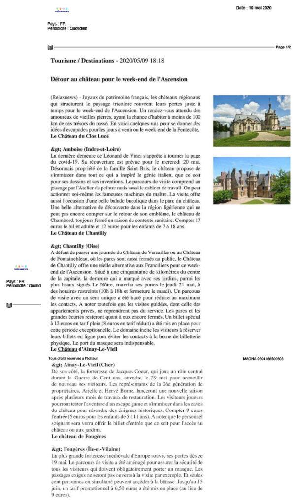 Article The relax news sur Ainay-le-Vieil en mai 2020