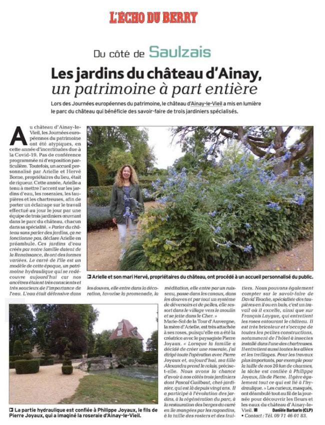 Article du 2 octobre 2020 dans l'écho du Berry sur les jardins d'Ainay-le-Vieil