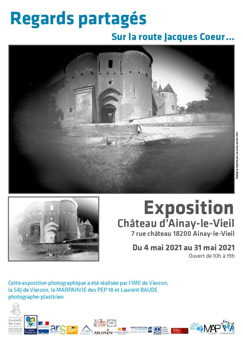 Affiche Exposition Regards partagés 2021 au Château d'Ainay-le-Vieil