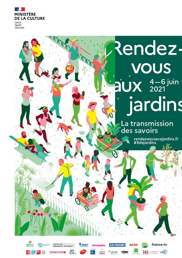 Affiche Rendez-vous aux jardins 2021 au Château d'Ainay-le-Vieil