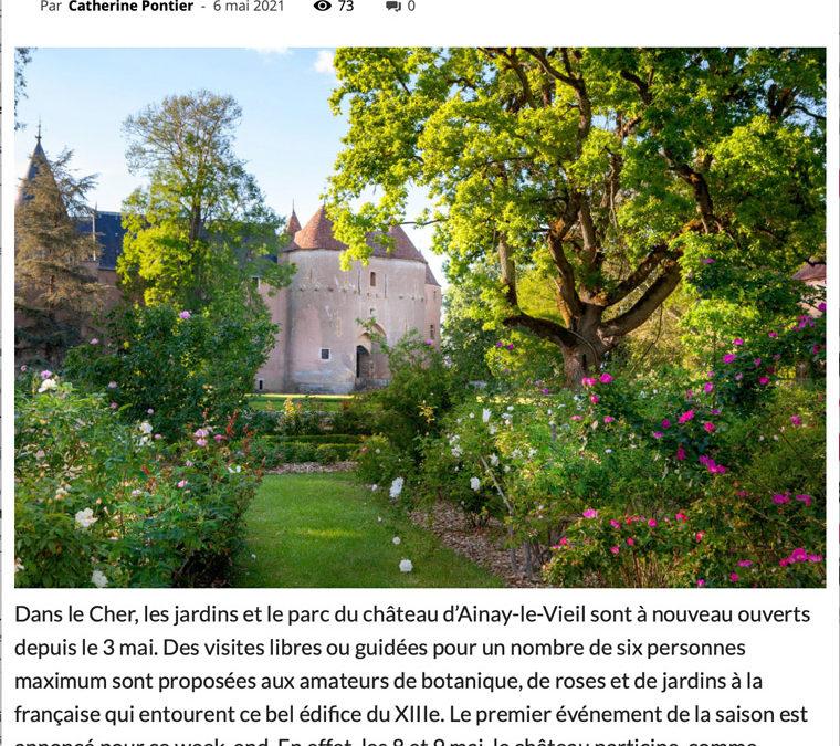 Article L'écho du Berry - château Ainay-le-Vieil jardins ouverts Neurodon - 7 mai 2021