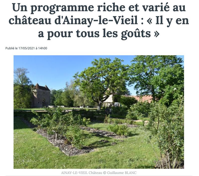 2021-05-17 Le Berry républicain la saison du château d'Ainay-le-Vieil