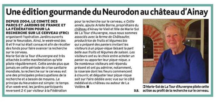 Article de l'écho du berry sur le Neurodon au Château d'Ainay-le-Vieil, portrait de Marie-Sol de la Tour d'Auvergne
