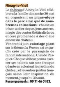 Château d'Ainay-le-Vieil, L'écho du Berry, article du 25 mai 2021