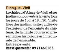 Château d'Ainay-le-Vieil, L'écho du Berry, parution du 27 mai 2021