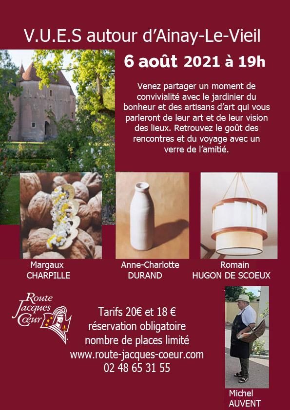 Flyer V.U.E.S. visites secrètes du chateau d'Ainay-le-Vieil par la Route Jacques Cœur