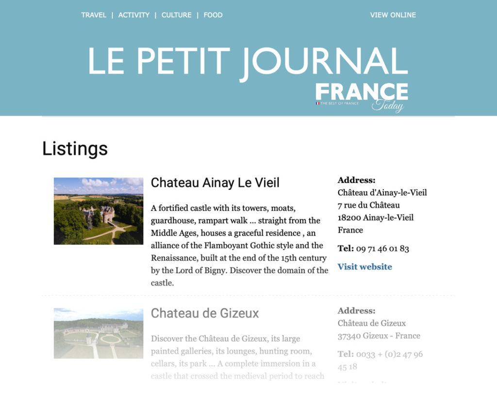 Article dans France today sur le château d'Ainay-le-Vieil JUIN 2021