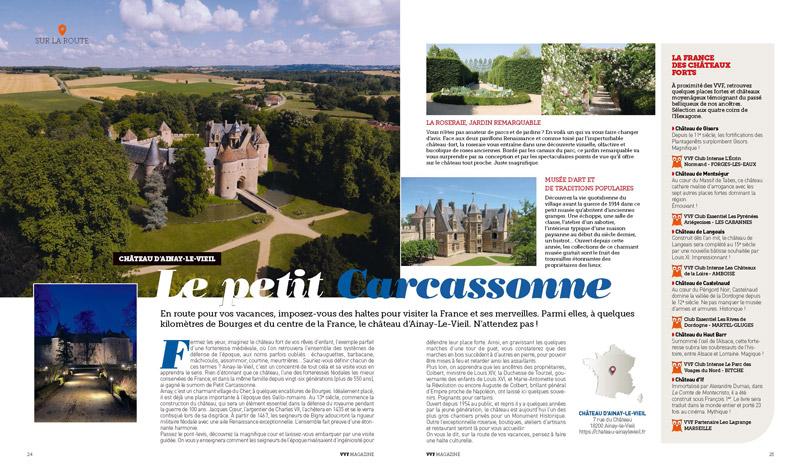 Article sur le Château d'Ainay-le-Vieil paru dans le VVF magazine de juin 2021