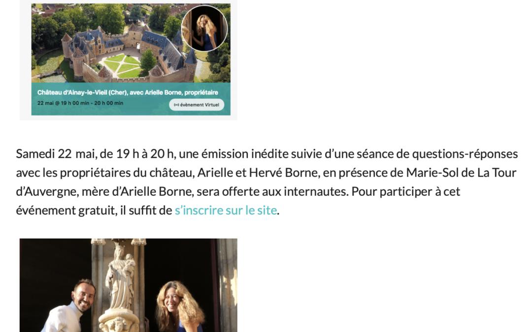 21 mai 2021 article de l'écho du berry sur visite de So chateau à Ainay-le-Vieil