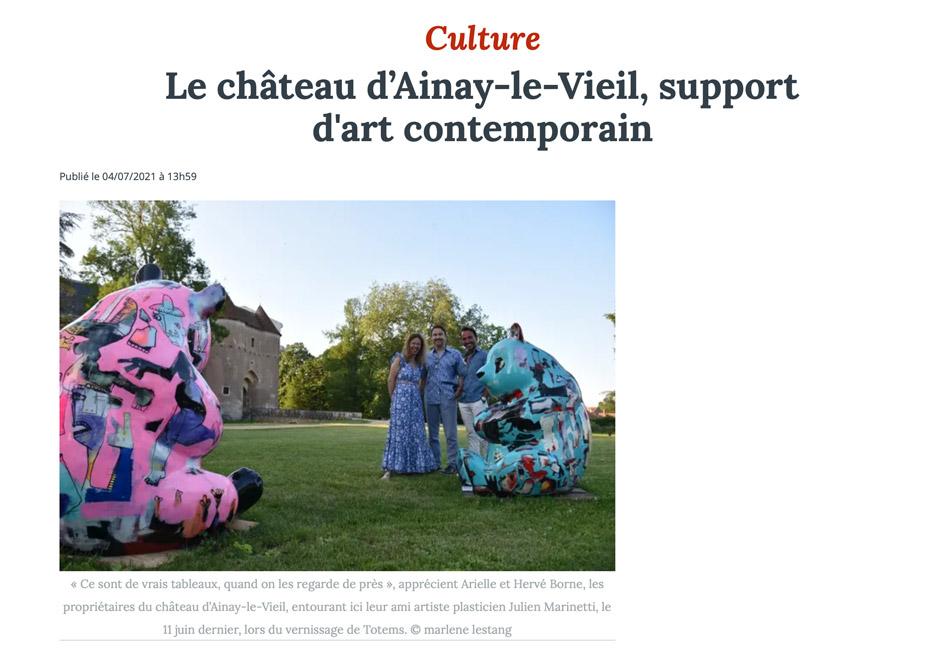 Article du Berry républicain lors du vernissage de l'exposition de Julien Marinetti au château d'Ainay-le-Vieil