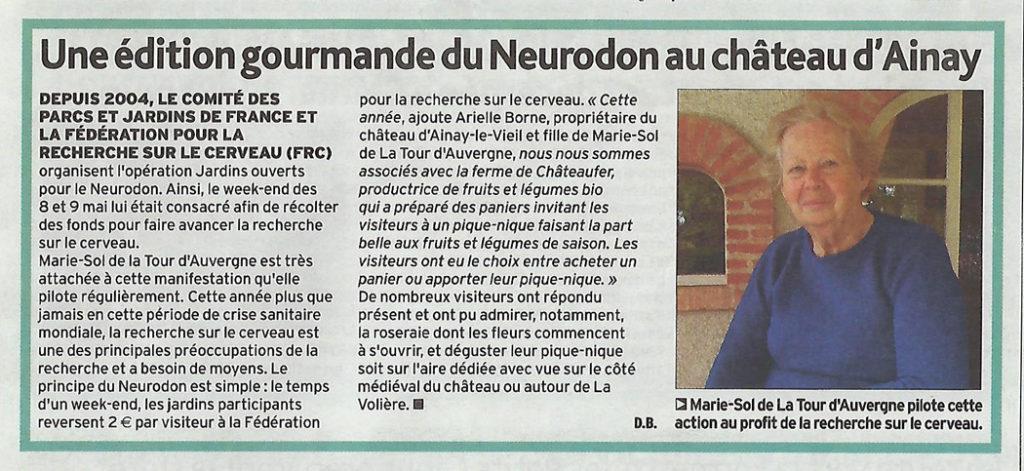 2021-05-20 article de l'écho du Berry sur le Neurodon au château d'Ainay-le-vieil