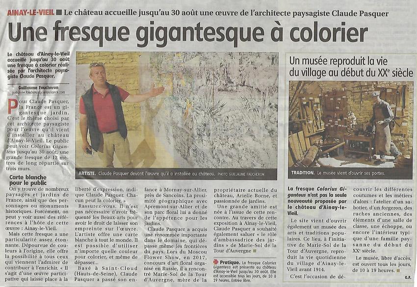 7 juin 2021, article du Berry républicain sur le Colorius giganteus au Château d'Ainay-le-Vieil