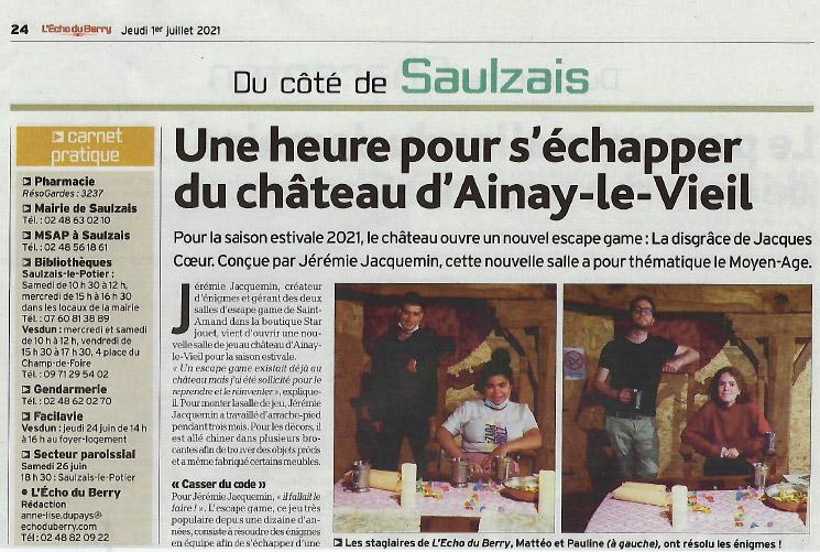 1er juillet 2021 article de l'écho du Berry sur les escape games au château d'Ainay-le-Vieil