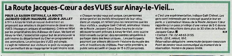 1er juillet 2021 article de l'écho du Berry sur les visites secrètes au château d'Ainay-le-Vieil
