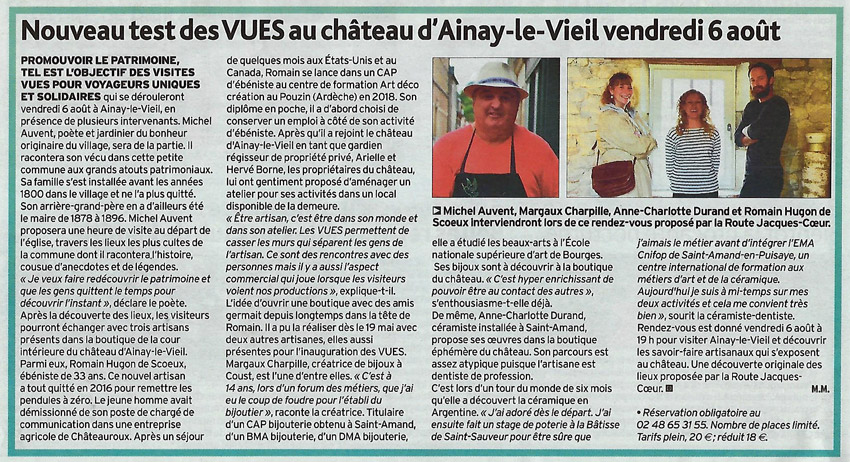 29 juillet 2021 article de l'écho du Berry sur les visites secrètes au château d'Ainay-le-Vieil