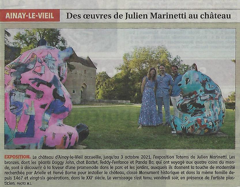4 août 2021 article du Berry républicain sur l'expo de Julien Marinetti au Château d'Ainay-le-Vieil