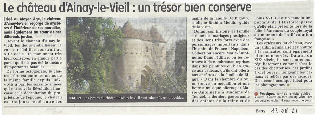 Article du Berry républicain sur le château d'Ainay-le-Vieil