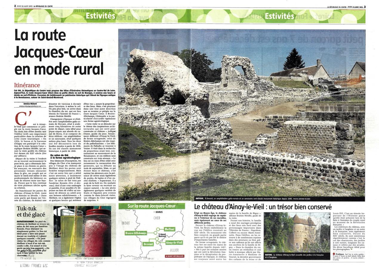 La route Jacques Coeur en mode rural, article paru dans la République du Centre du 12 août 2021