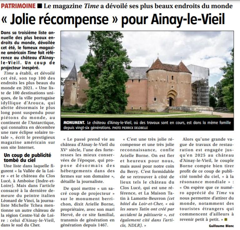 19 aout 2021, le Berry Républicain article sur la citation du Château d'Ainay-le-Vieil dans le Time