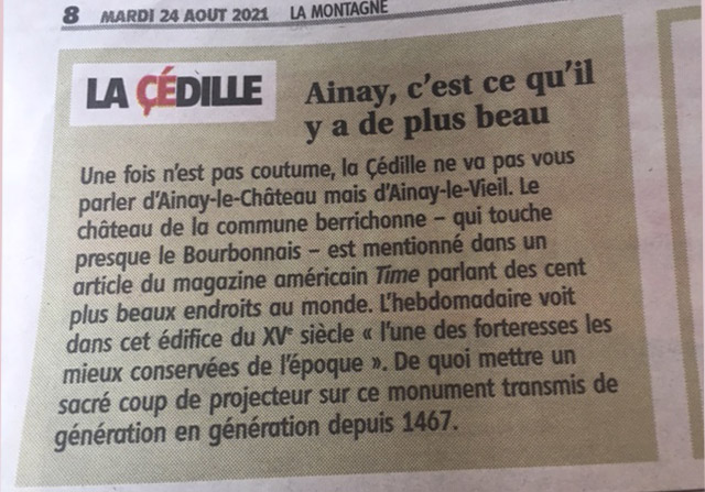 La cédille du journal la République du Centre sur la citation du Château d'Ainay-le-Vieil dans les 100 lieux à voir par le Time