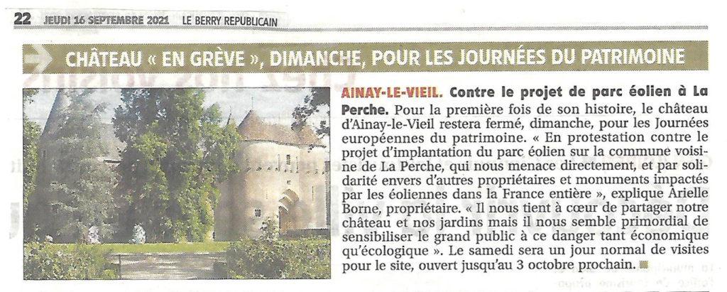 2021-09-16 Artcicle du Berry Républicain sur le château d'Ainay-le-Vieil